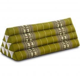 Kapok Dreieckskissen, Thaikissen, Rückenlehne extrabreit, grün/Elefant