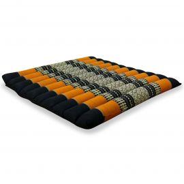 Kapok Thaikissen, Steppkissen, Gr. L, schwarz/ orange