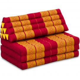 Kapok Thaikissen in XXL-Breite, Dreieckskissen, rot/gelb
