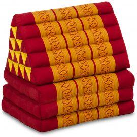 Kapok Thaikissen in XXL-Höhe, Dreieckskissen, rot-gelb