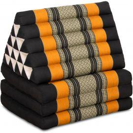 Kapok Thaikissen in XXL-Höhe, Dreieckskissen, schwarz/orange