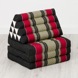 Kapok Thaikissen, Dreieckskissen, schwarz/rot, 3 Auflagen