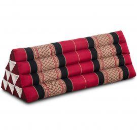Kapok Dreieckskissen, Thaikissen, Rückenlehne extrabreit, rot/schwarz