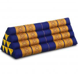 Kapok Dreieckskissen, Thaikissen, Rückenlehne extrabreit, blau/gelb