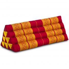 Kapok Dreieckskissen, Thaikissen, Rückenlehne extrabreit, rot/gelb