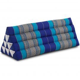 Kapok Dreieckskissen, Thaikissen, Rückenlehne extrabreit, blau