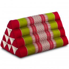 Kapok Dreieckskissen, Thaikissen, Rückenlehne, rot/grün