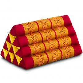 Kapok Dreieckskissen, Thaikissen, Rückenlehne, rot/gelb