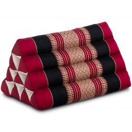 Kapok Dreieckskissen, Thaikissen, Rückenlehne, rot/schwarz