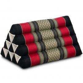 Kapok Dreieckskissen, Thaikissen, Rückenlehne, schwarz/rot