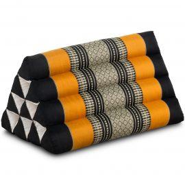 Kapok Dreieckskissen, Thaikissen, Rückenlehne, schwarz/orange