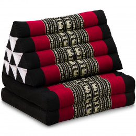 Kapok Thaikissen, Dreieckskissen, schwarz/Elefant, 2 Auflagen