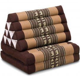 Kapok Thaikissen, Dreieckskissen,  braun/Elefant, 2 Auflagen
