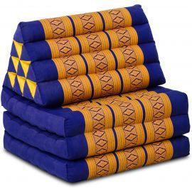Kapok Thaikissen, Dreieckskissen, blau/gelb, 3 Auflagen