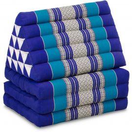 Kapok Thaikissen in XXL-Höhe, Dreieckskissen, blau
