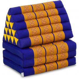 Kapok Thaikissen in XXL-Höhe, Dreieckskissen, blau/gelb