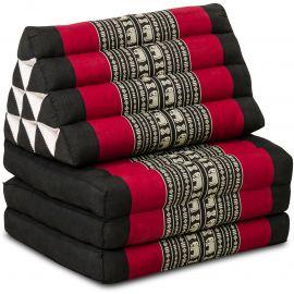 Kapok Thaikissen, Dreieckskissen, schwarz/Elefant, 3 Auflagen