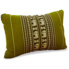 kleines Kapok-Kissen Dekokissen grün / Elefanten, 22 cm x 33 cm x 13 cm