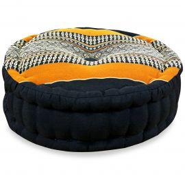 Zafu Meditationskissen, schwarz / orange