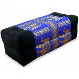 Stützkissen, Yogakissen mit Seide  schwarz-blau / Elefanten