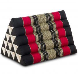 Kapok Dreieckskissen, Thaikissen, Rückenlehne extrahoch, schwarz/rot