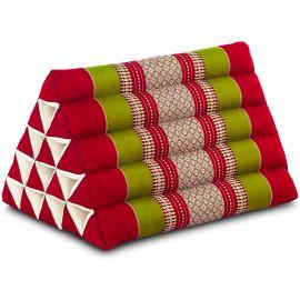 Kapok Dreieckskissen, Thaikissen, Rückenlehne extrahoch, rot/grün