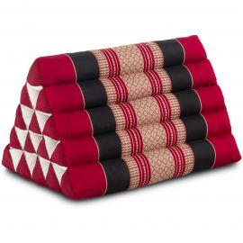 Kapok Dreieckskissen, Thaikissen, Rückenlehne extrahoch, rot/schwarz