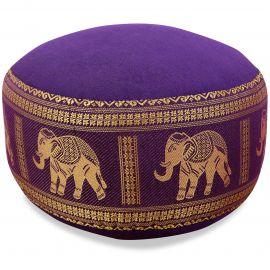 kleines Zafu Meditationskissen, Seide, lila / Elefanten
