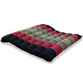 Kapok Thaikissen, Steppkissen, Gr. M, schwarz / rot