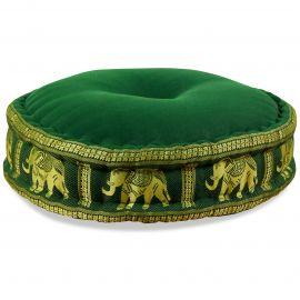 Zafu Meditationskissen, Seide, dunkelgrün / Elefanten