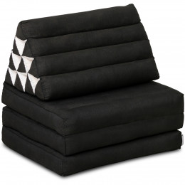 Kapok Thaikissen, Dreieckskissen, einfarbig, schwarz, 3 Auflagen