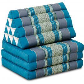Kapok Thaikissen, Dreieckskissen, hellblau, 3 Auflagen