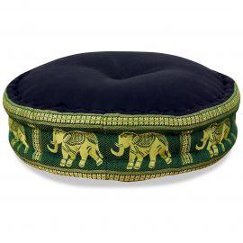 Zafu Meditationskissen, Thaikissen, Seide, schwarz / grün / Elefanten