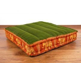Kapok Thaikissen, Bodensitzkissen, Meditationskissen  grün-orange / Elefanten