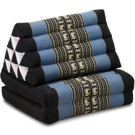Kapok Thaikissen, Dreieckskissen, blau/Elefanten, 2 Auflagen