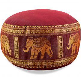 kleines Zafu Meditationskissen, Seide, rot / Elefanten