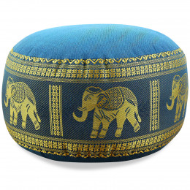 kleines Zafu Meditationskissen, Seide, hellblau / Elefanten