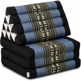 Kapok Thaikissen, Dreieckskissen, blau/Elefant, 3 Auflagen