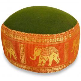 kleines Zafu Meditationskissen, Seide, grün-orange / Elefanten