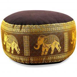 kleines Zafu Meditationskissen, Seide, braun-gold / Elefanten