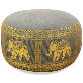 kleines Zafu Meditationskissen, Seide, grau / Elefanten