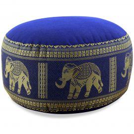 kleines Zafu Meditationskissen, Seide, blau / Elefanten