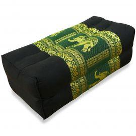 Stützkissen, Yogakissen mit Seide  schwarz-grün / Elefanten