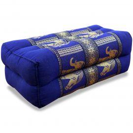 Stützkissen, Yogakissen mit Seide  blau / Elefanten