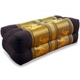 Stützkissen, Yogakissen mit Seide  dunkelbraun-gold / Elefanten
