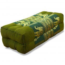 Stützkissen, Yogakissen mit Seide  grün / Elefanten
