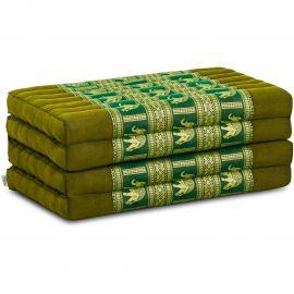 Kapok Faltmatratze, Klappmatratze, grün mit edler Seidenstickerei