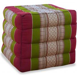 Kapok Würfel-Sitzkissen  rot / grün