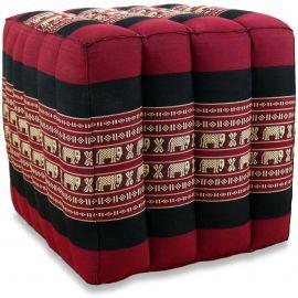 Kapok Würfel-Sitzkissen  rot / Elefanten
