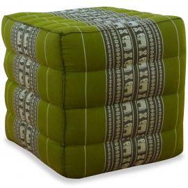 Kapok Würfel-Sitzkissen grün / Elefanten